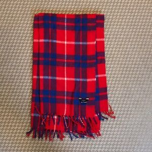 Red, blue and white plaid J. Crew scarf